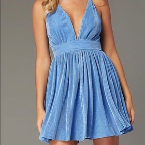 Pleated Short V-Neck Pastel Homecoming Party Dress
